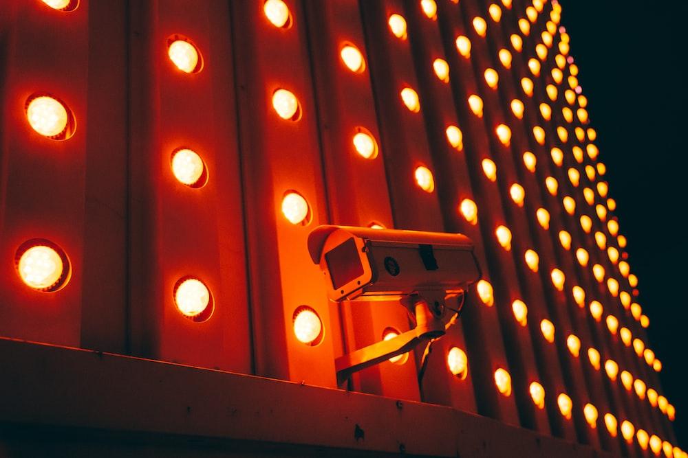 white bullet camera during nighttime