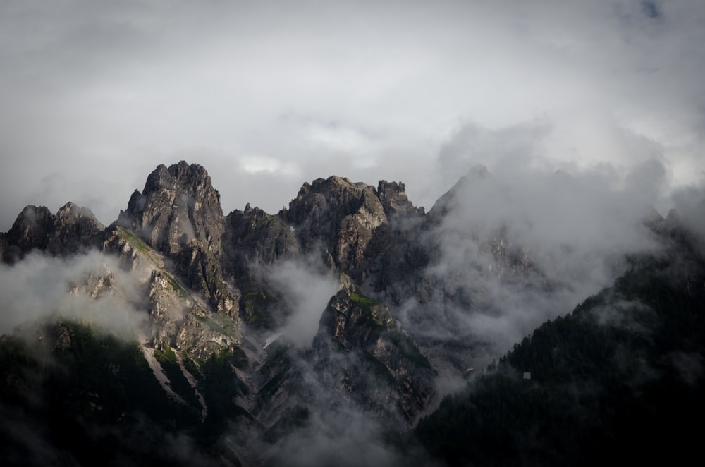 mountain during foggy day