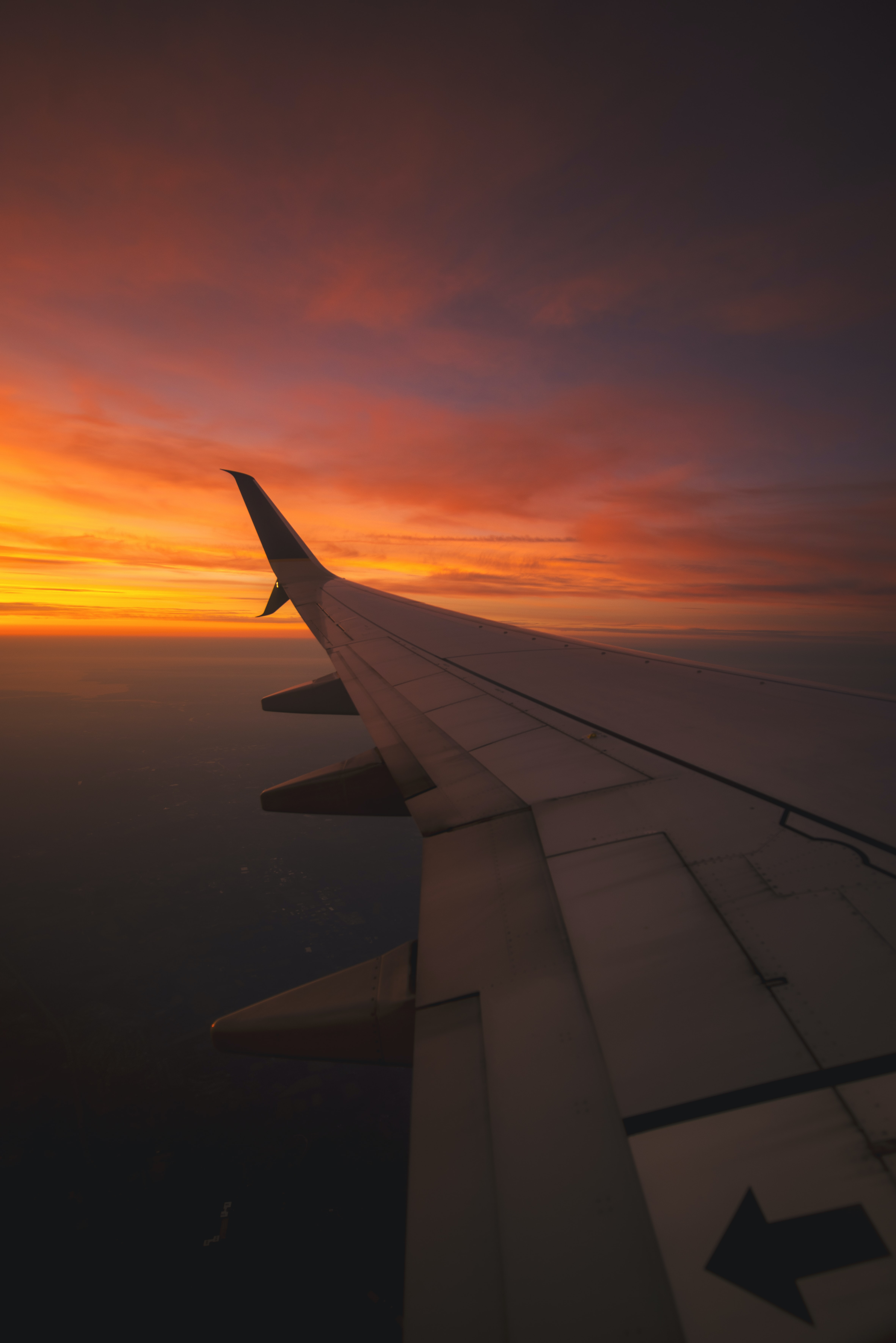bird's eye view photography of airplane wing