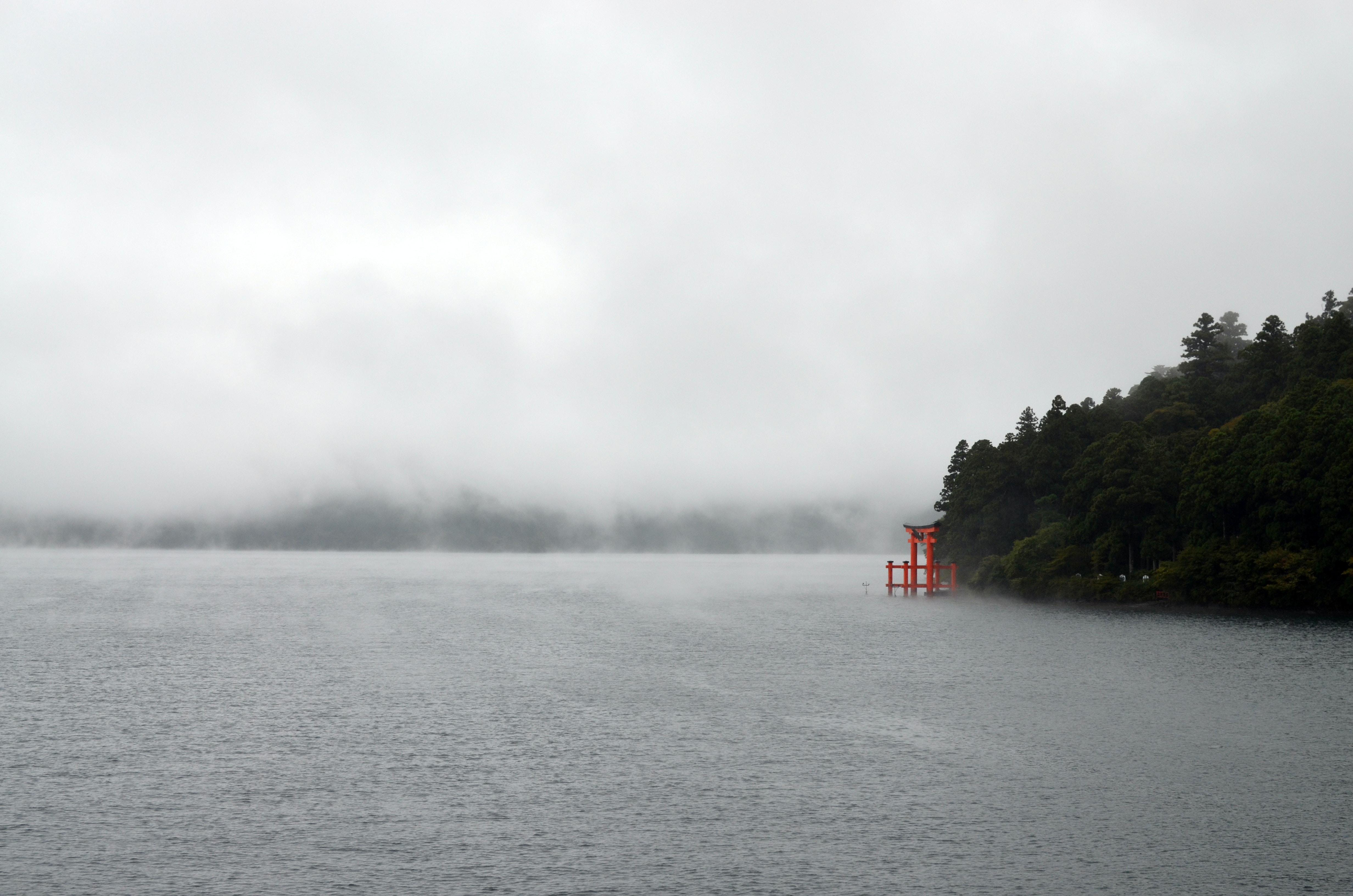 body of water beside island