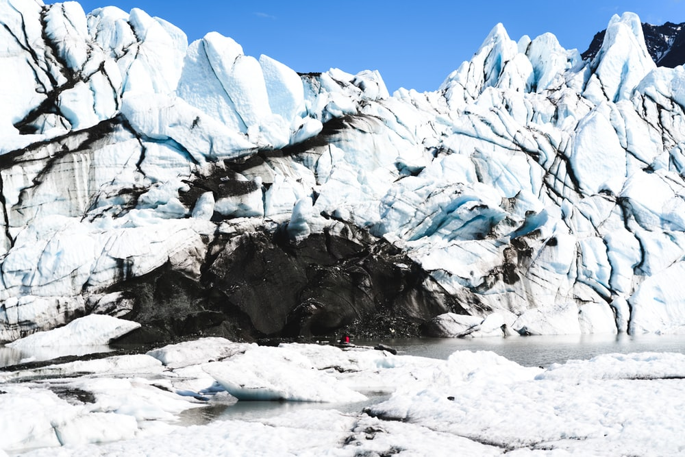 snow covered rock formation