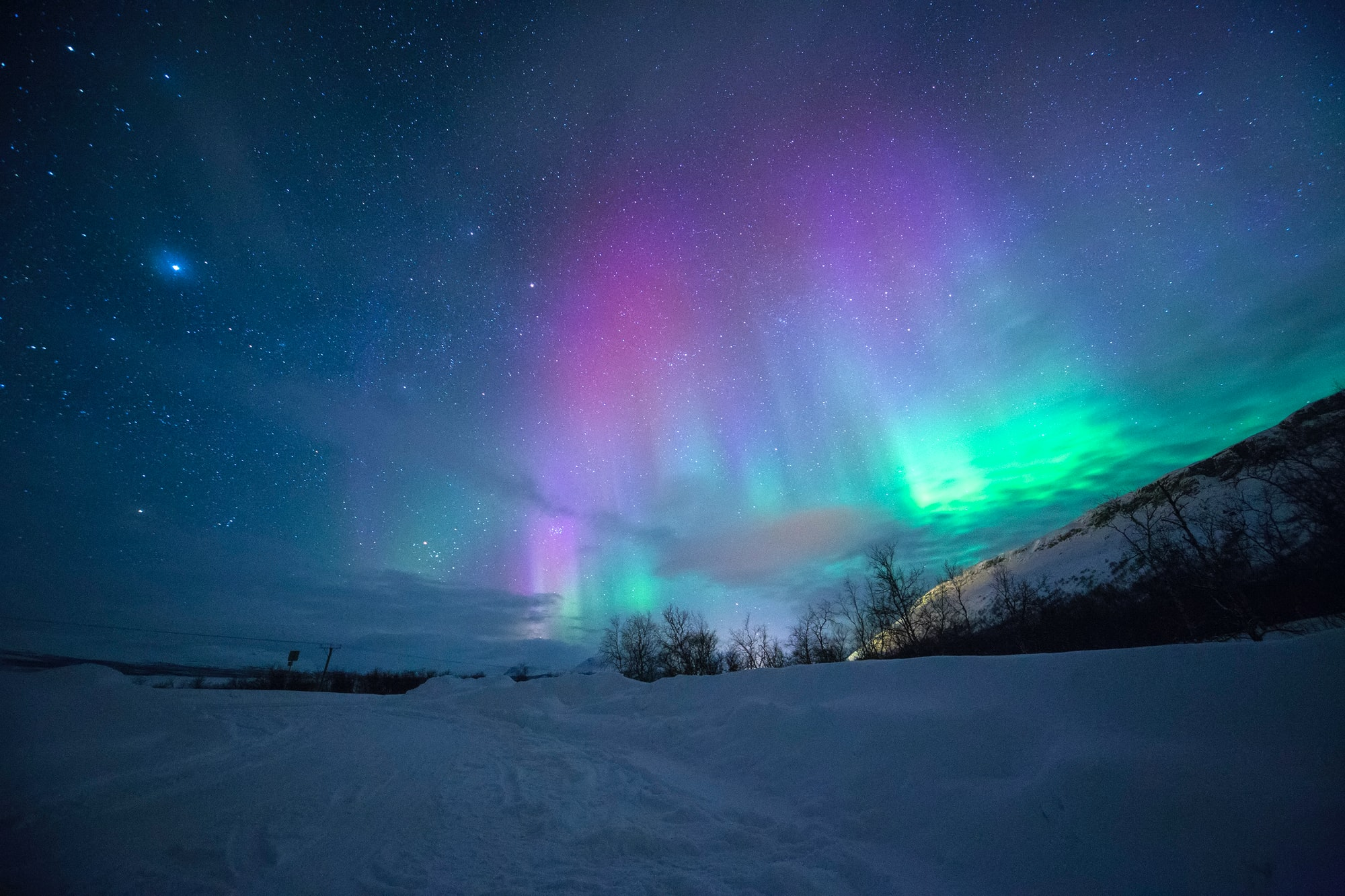 Amazing light display from Mother Nature, very humbled and in awe to capture a multi-hued color Aurora at Tromso, Norway.