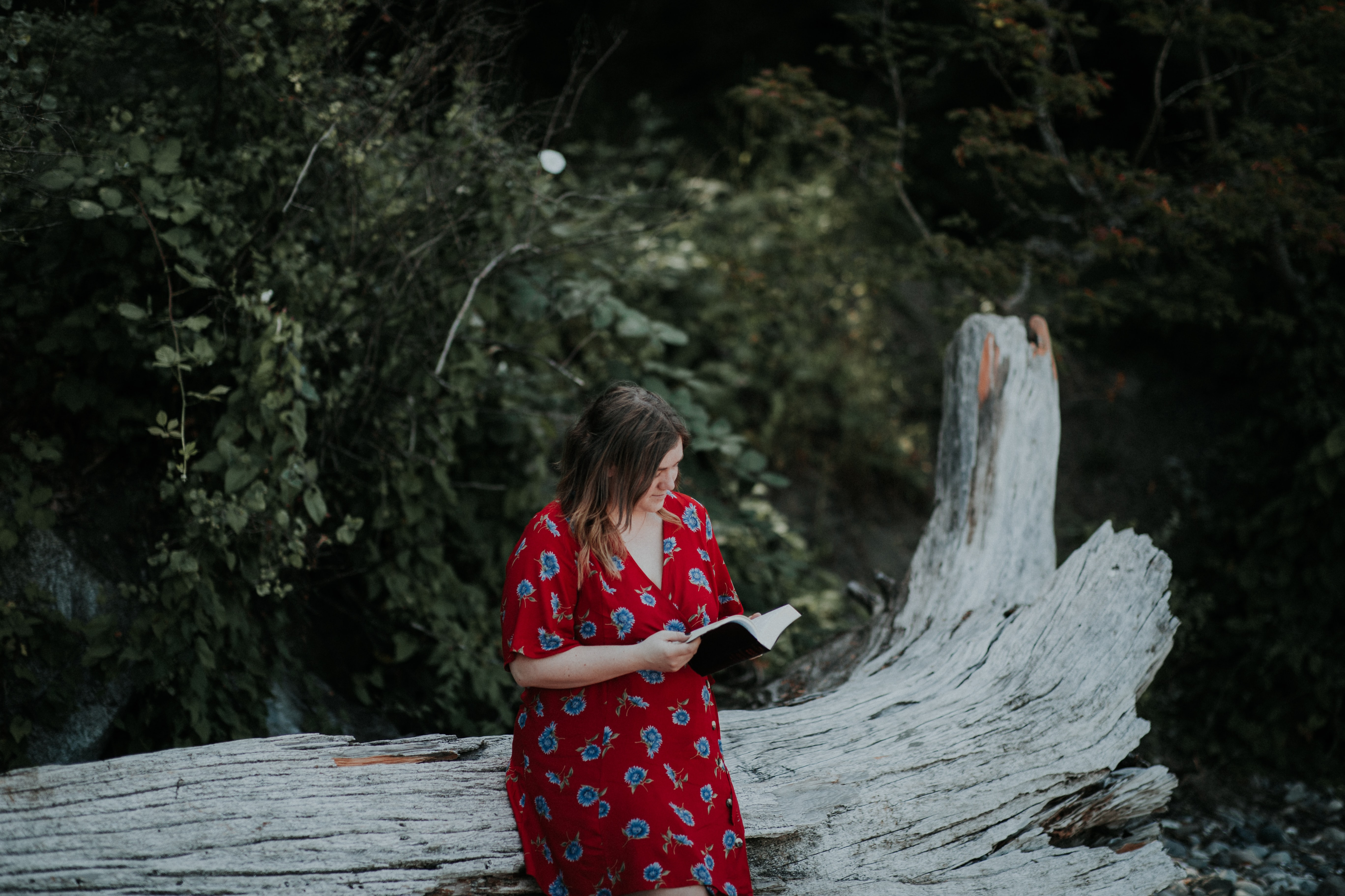 woman reading book sitting on tree log