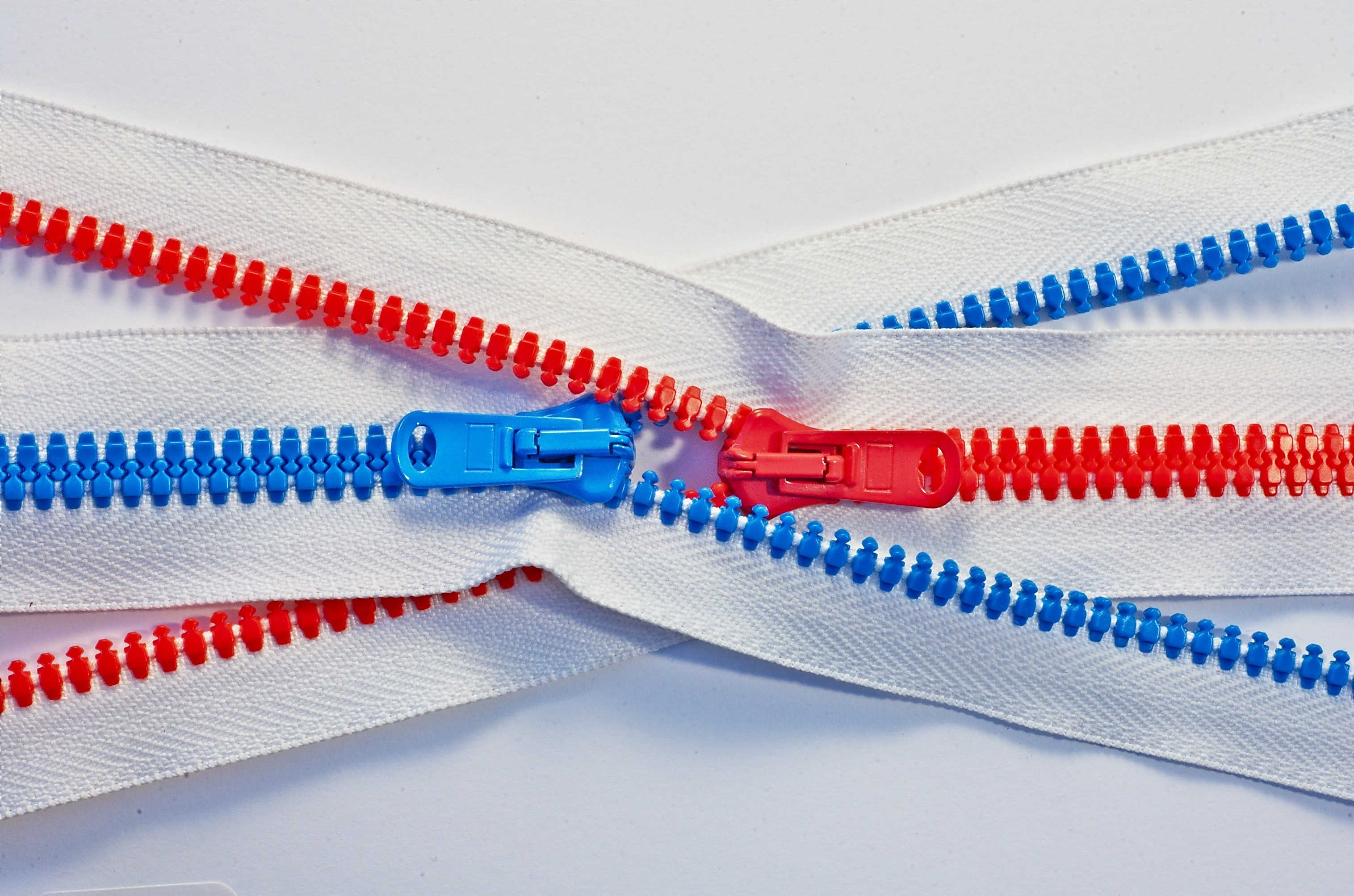 photo of red and blue zippers