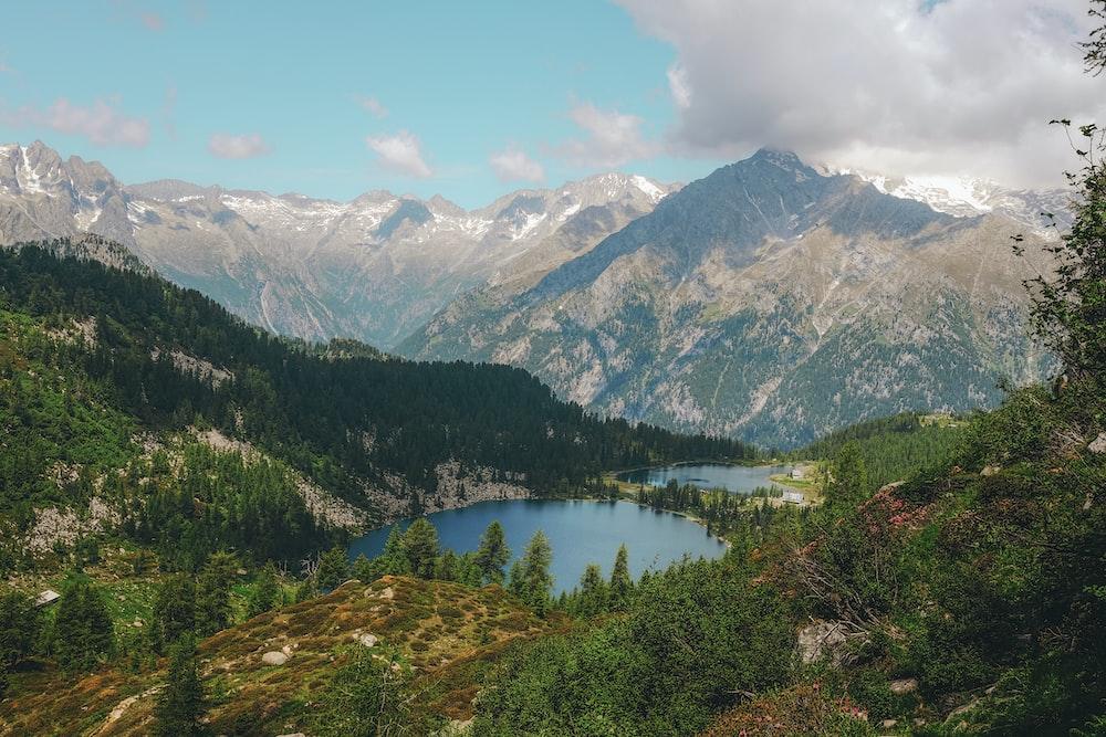 bird's-eye view photography of mountain range