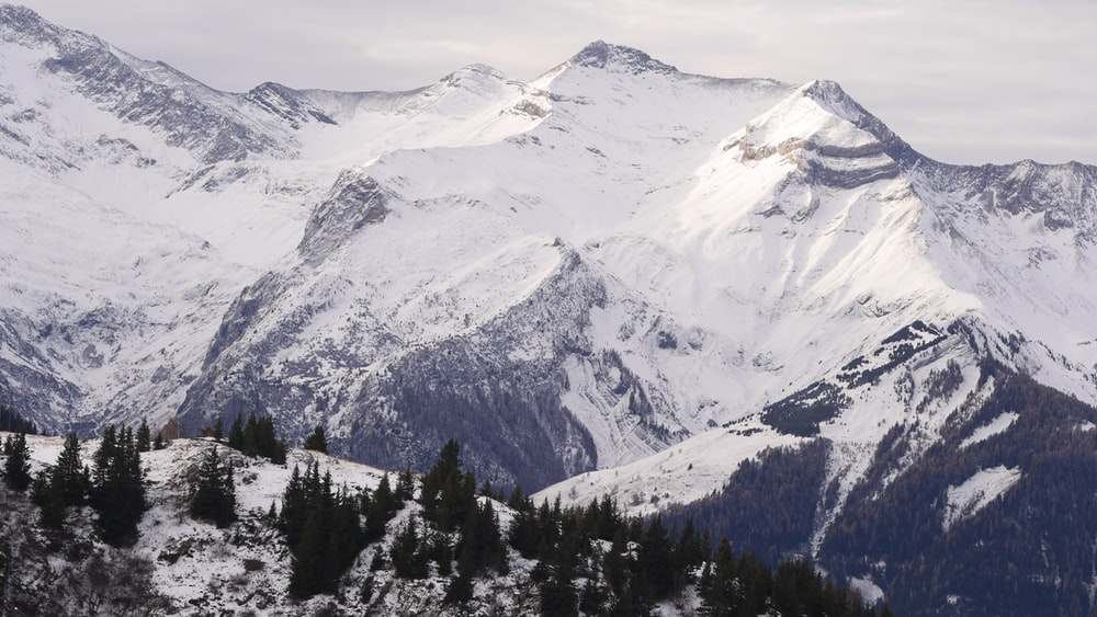 high angle photo of mountain covered with snow