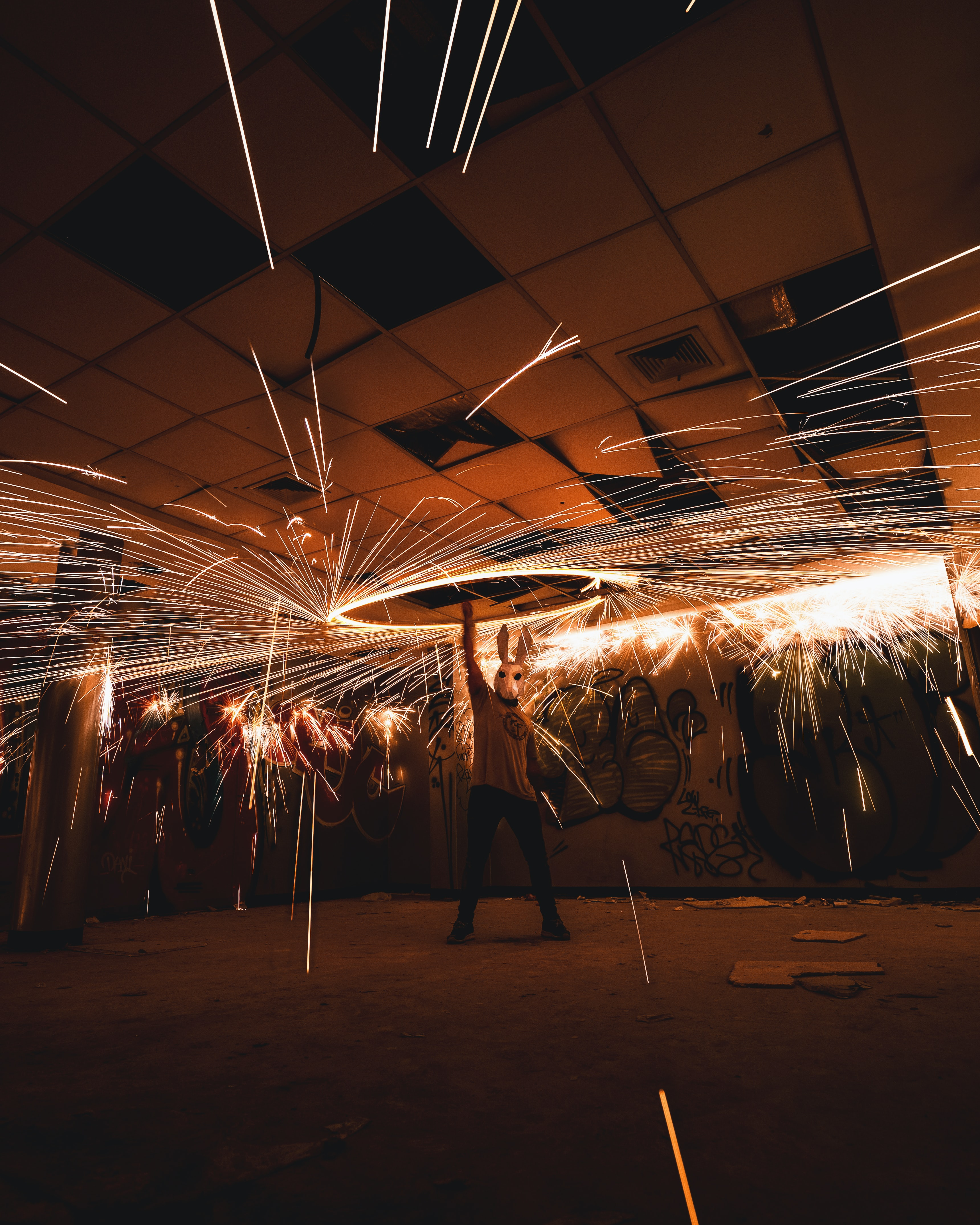 man holding steel wool in room