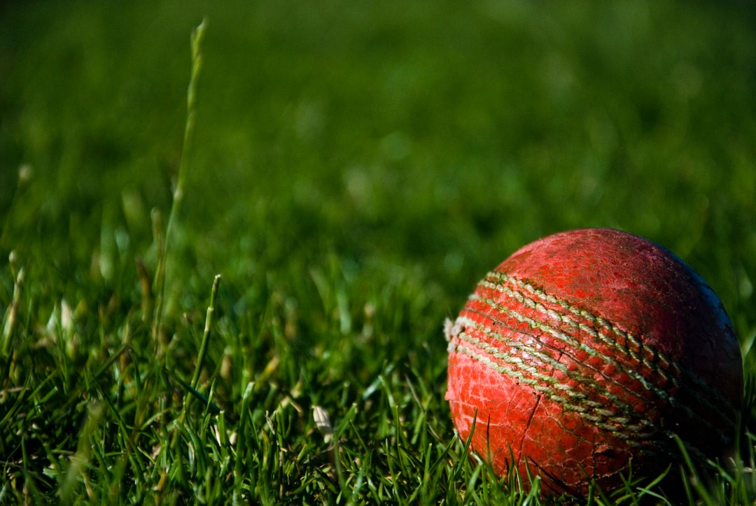 Red cricket ball on the grass