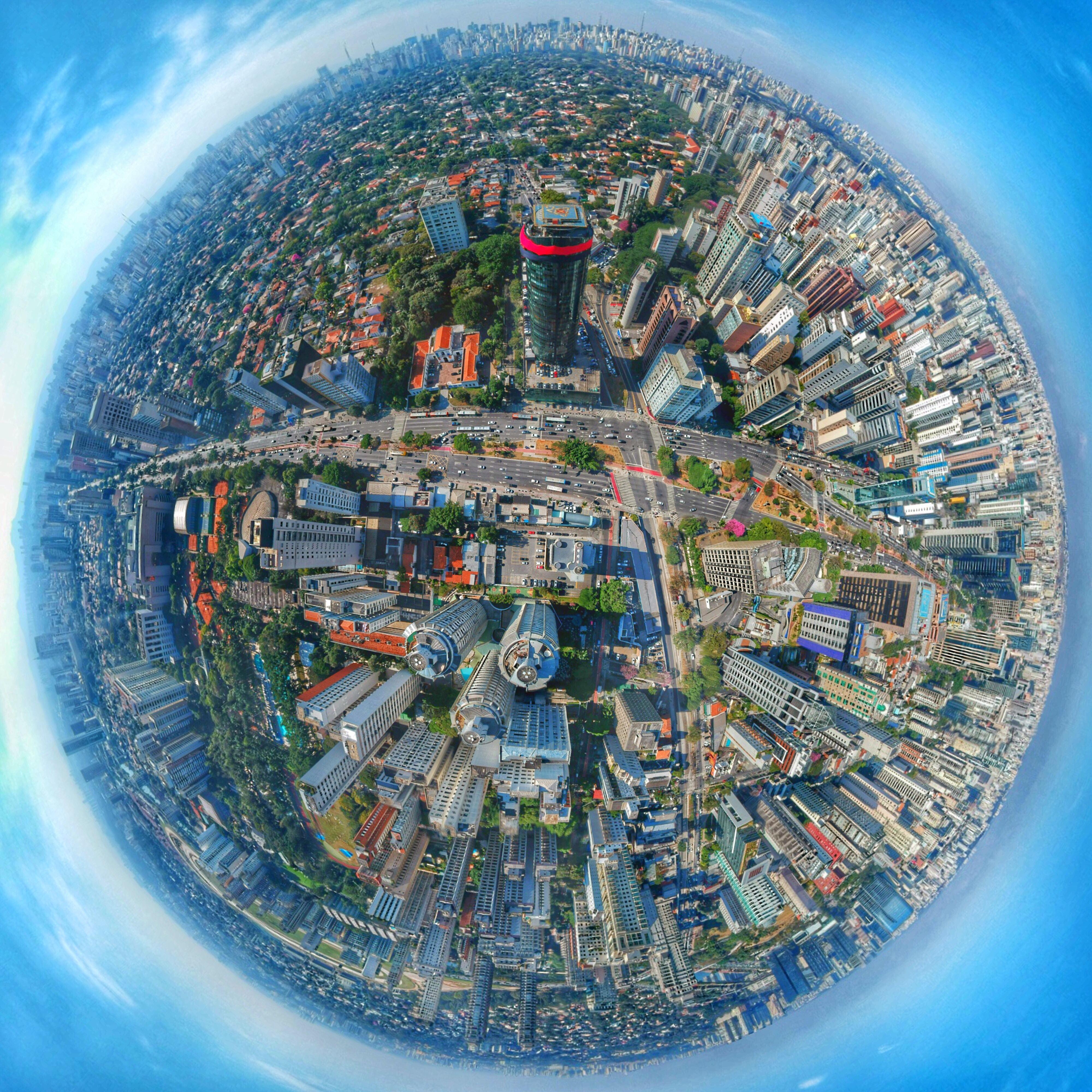 fisheye lens photography of city