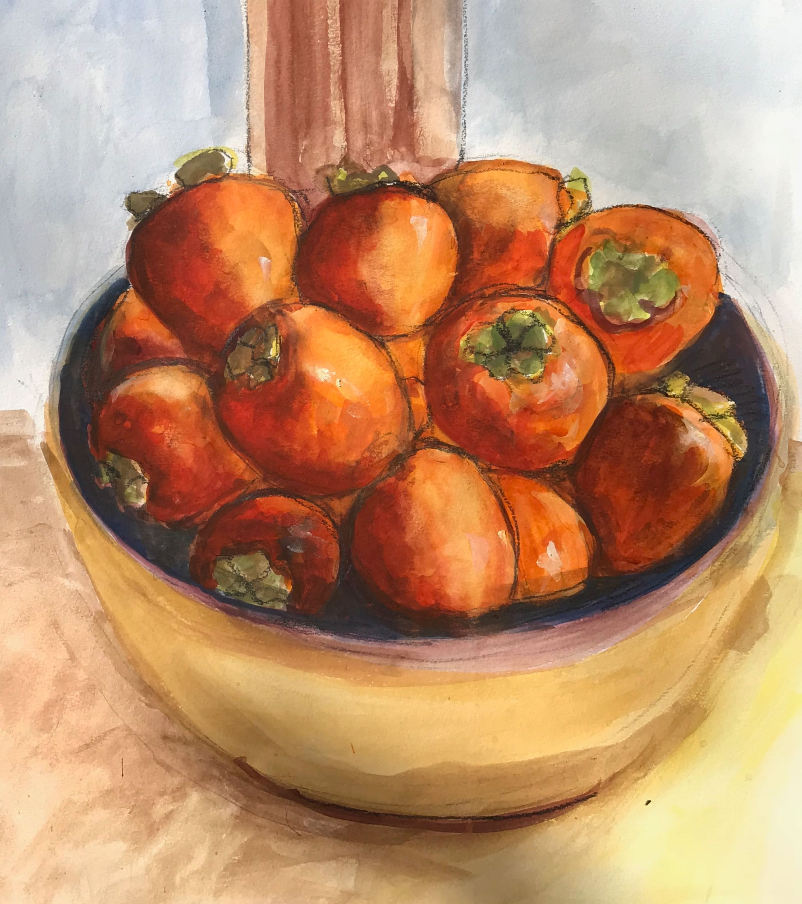 persimmons in bowl painting