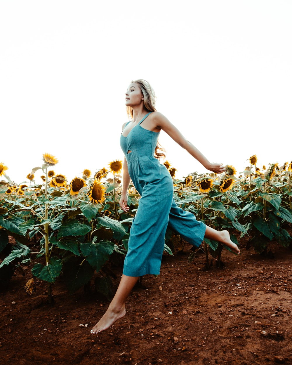 woman walking near the sunflower field at daytime