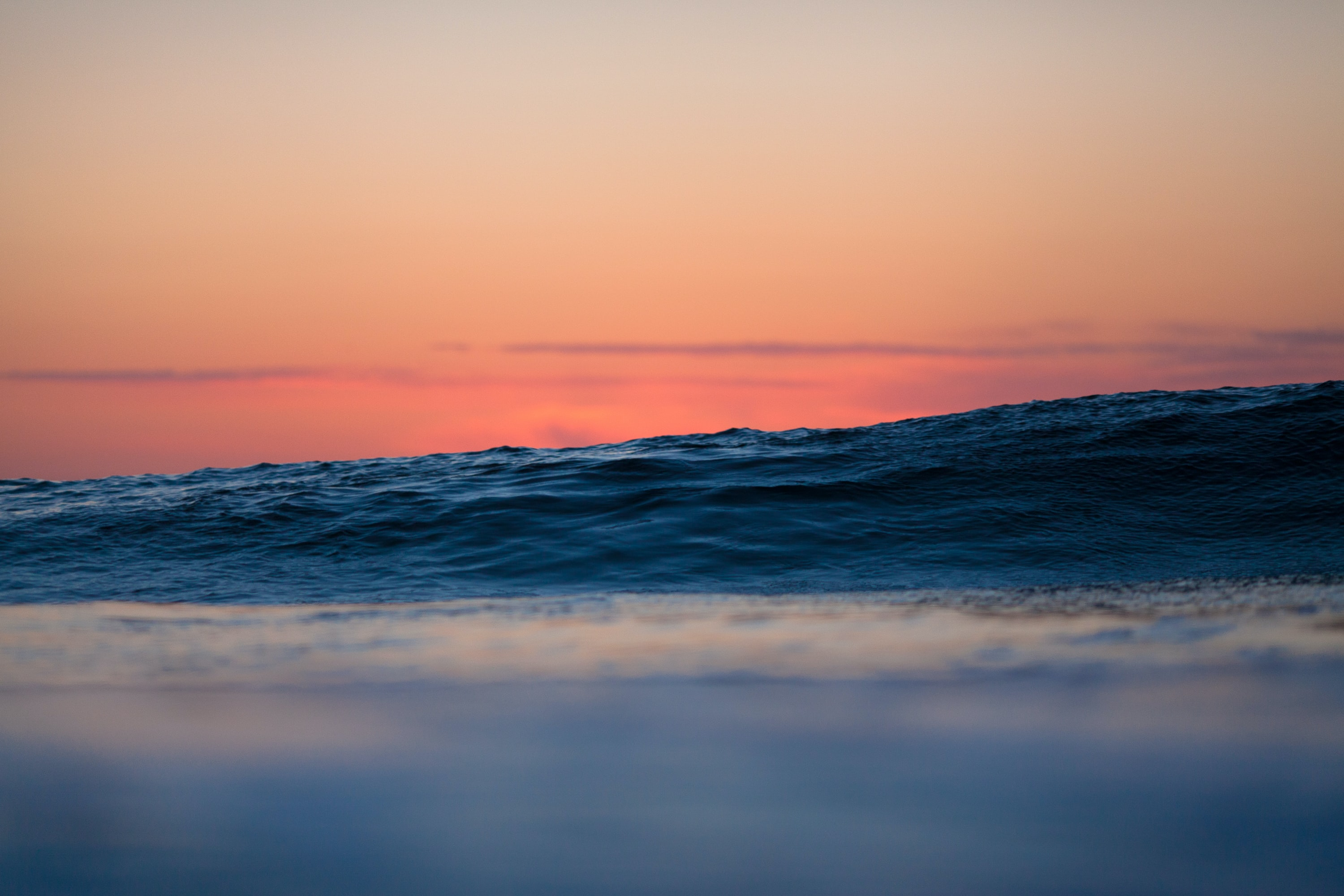 view of sea waves during golden hour