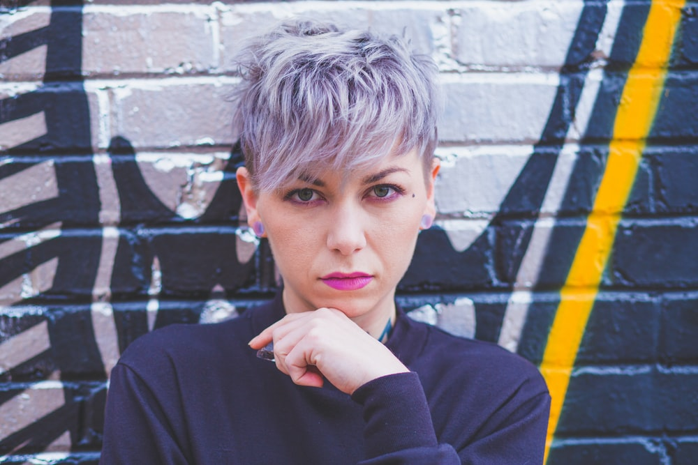 woman with short gray colored hair