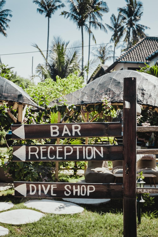 bar, reception, drive shop signage