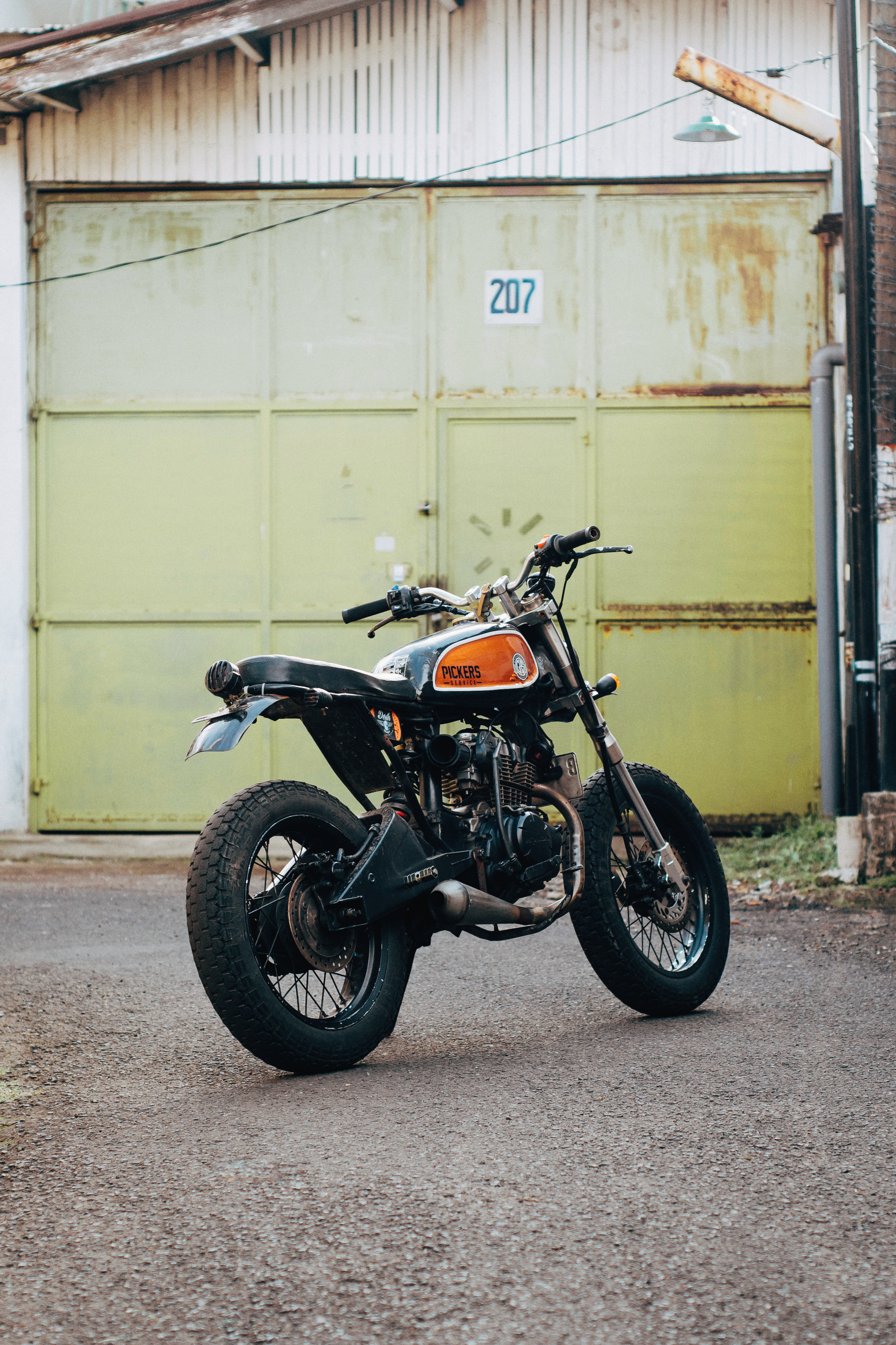 Classic black and orange motorcycle