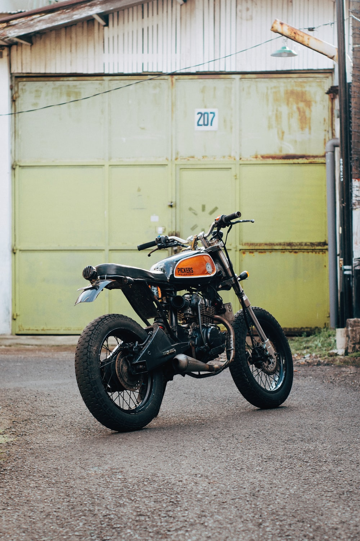 Classic black and orange motorcycle