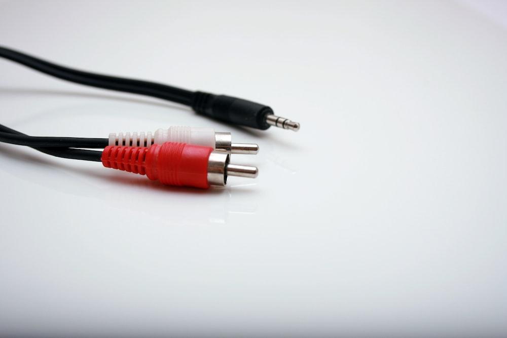 closeup photo of RCA cable