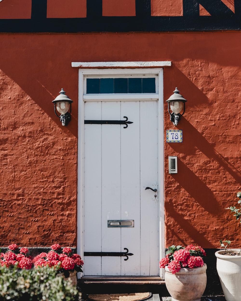 closed white wooden door