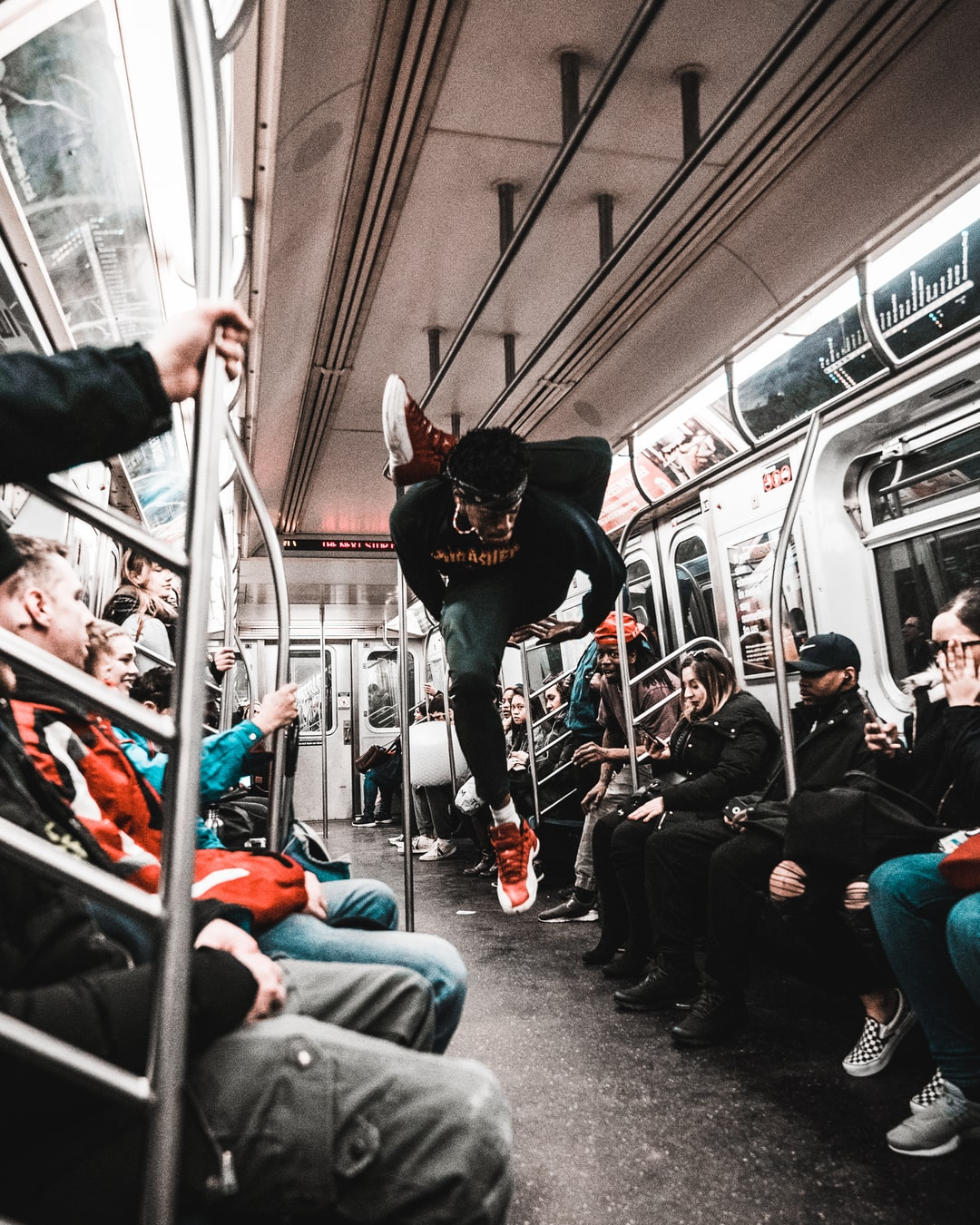 A normal subway ride in New York City.