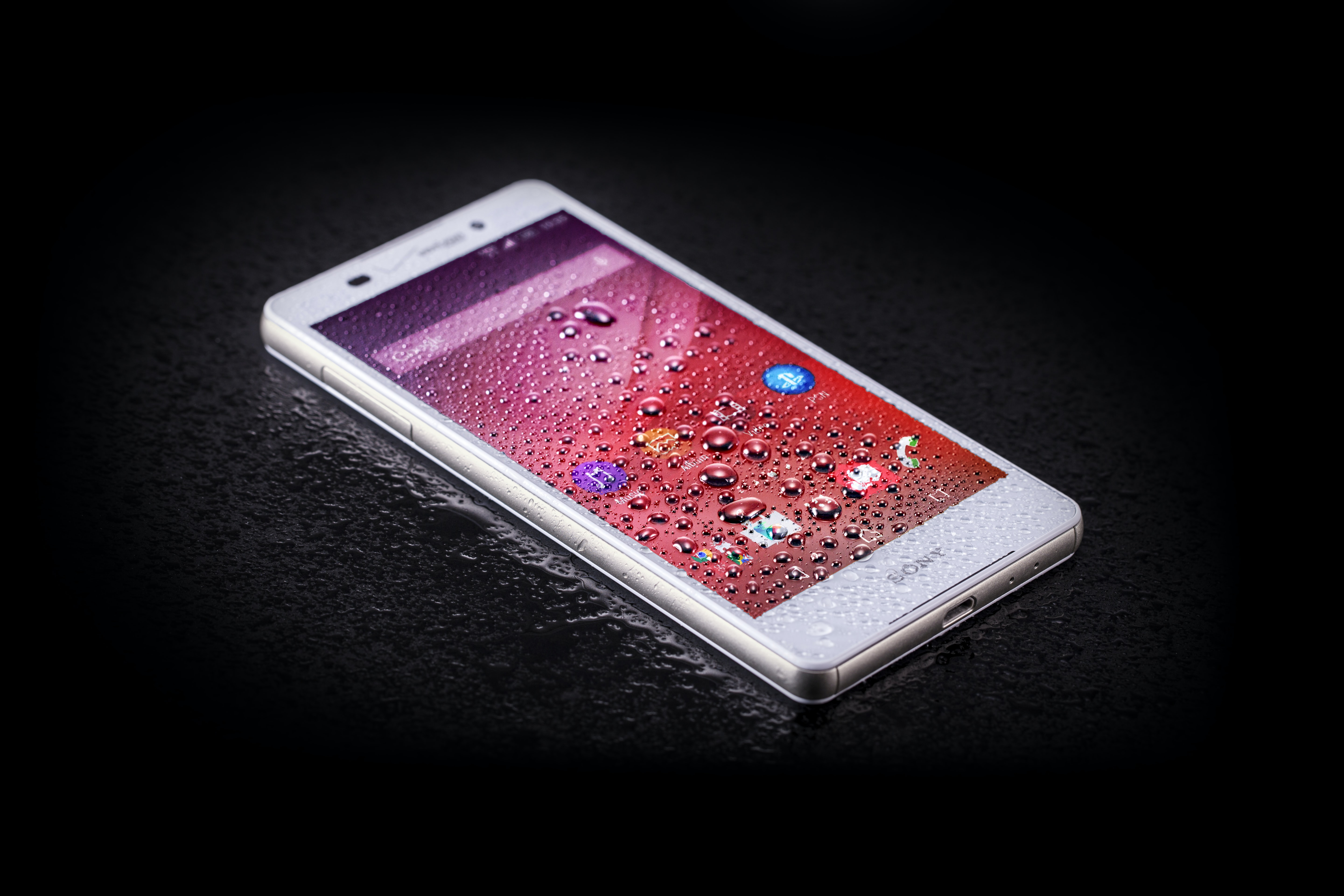 turned on white Android smartphone
