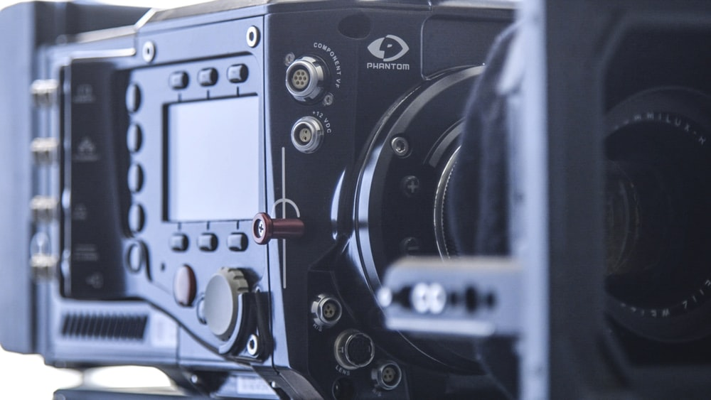 close-up photography of black professional camcorder