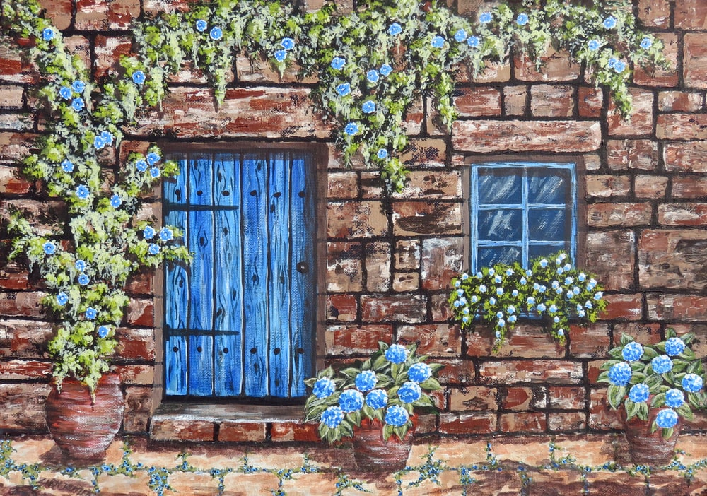 painting og brown and blue wooden door and shingle wall