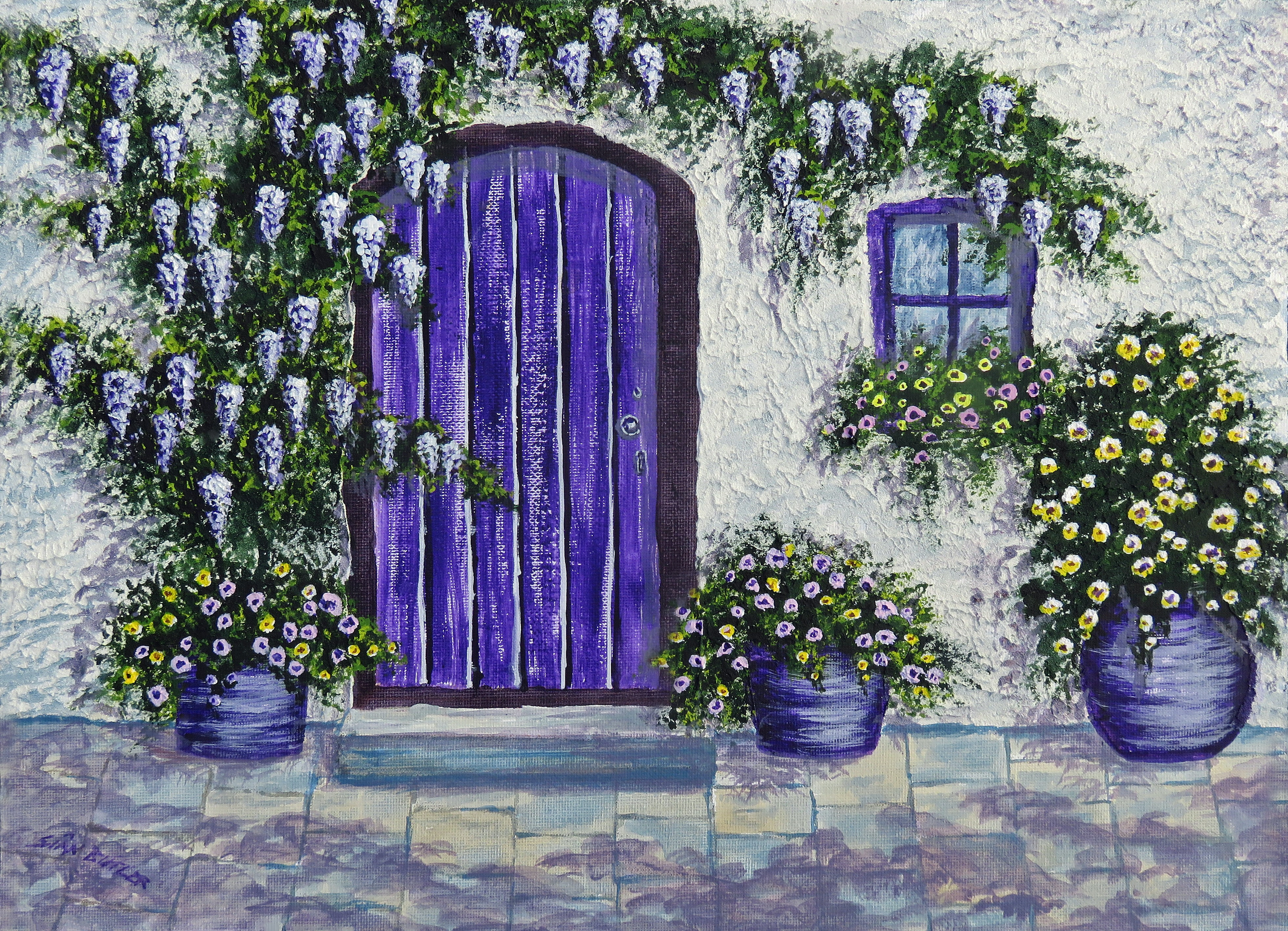 white house with purple door painting