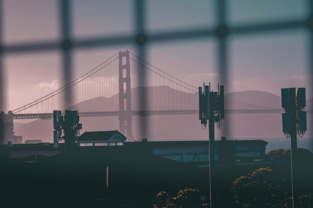 Golden Gate bridge shot from fence
