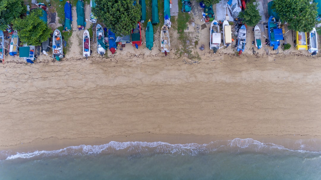 The last spot along Singapore East Coast where fishermen can keep their boats and equipment. Low drone shot.