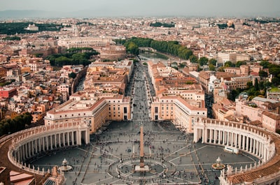 aerial photography of city rome zoom background