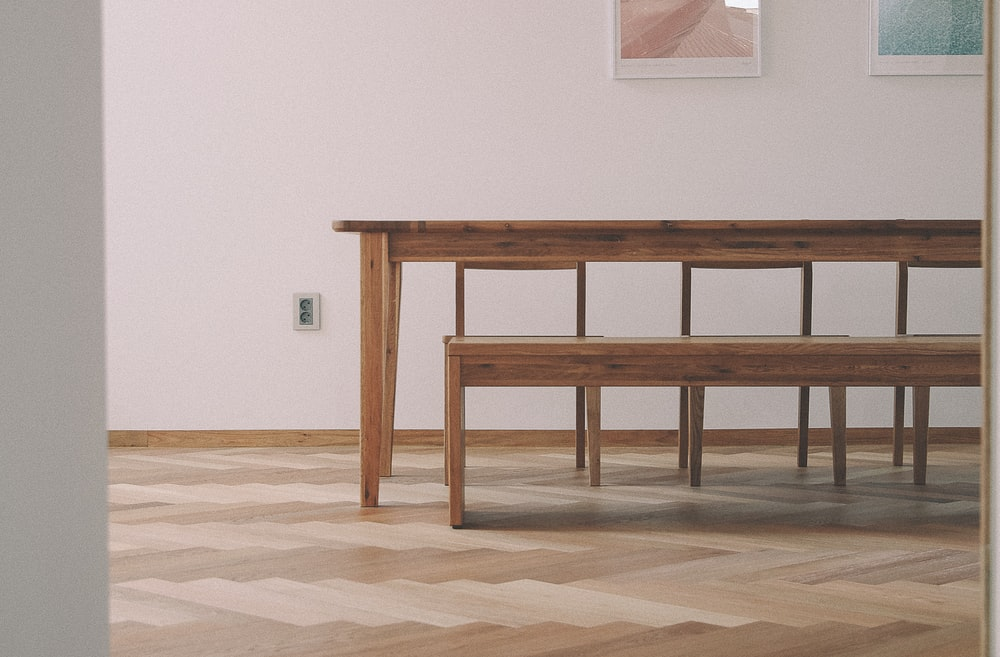 brown wooden dining table and chair