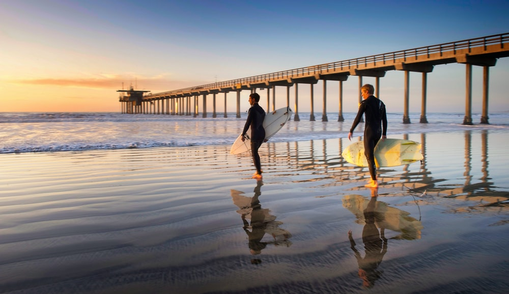 two person walking on the seaside holding surfboards