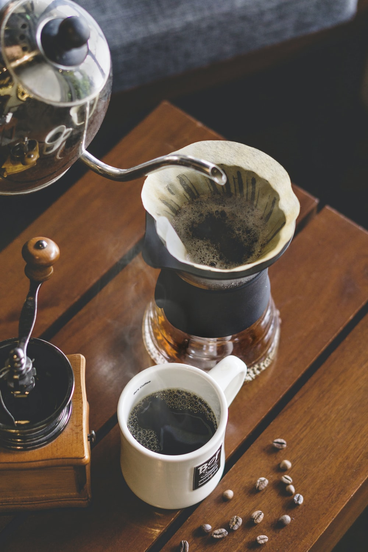 coffee beside coffee grinder