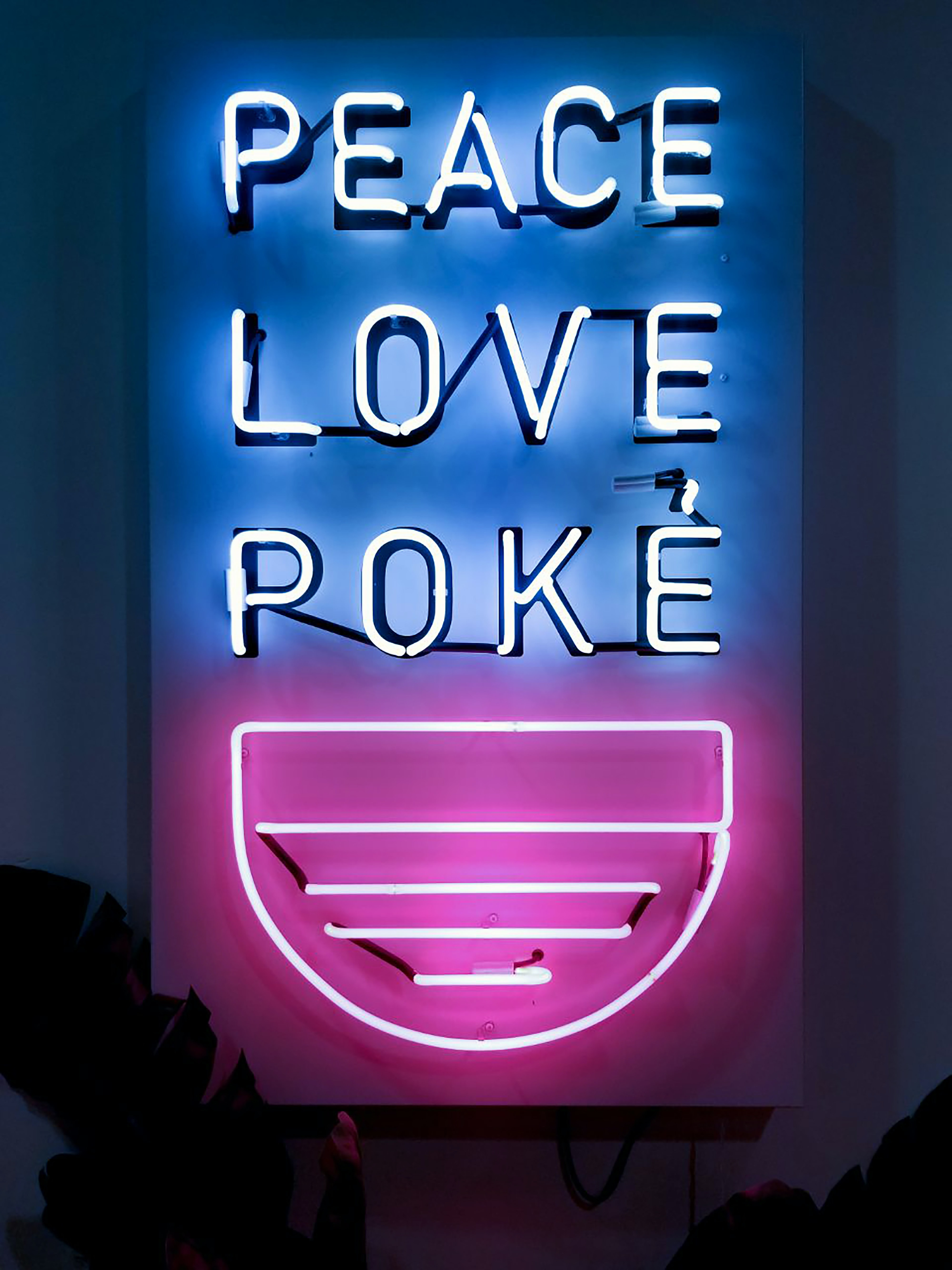Peace Love Poke neon sign