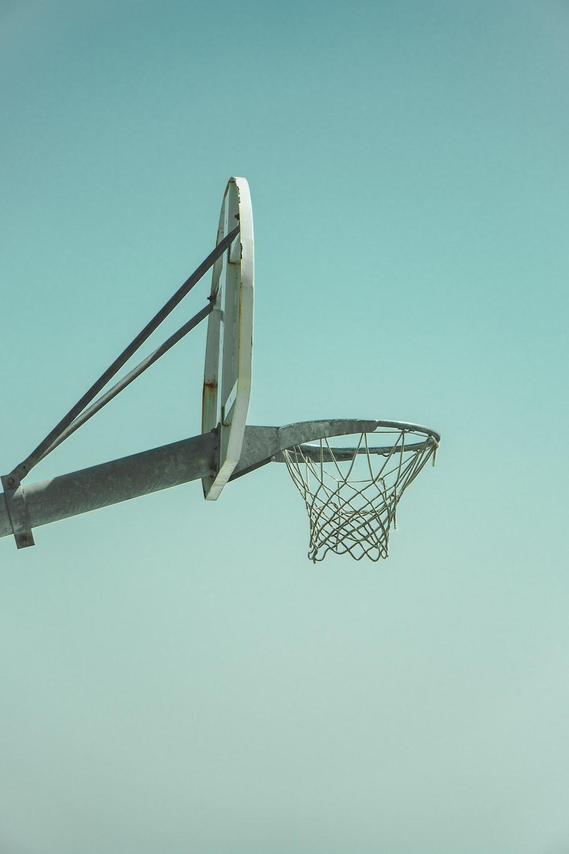 white and gray basketball hoop