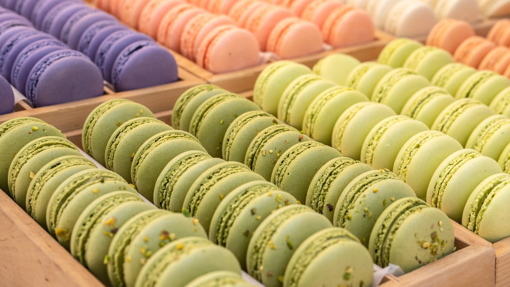 tray of French macarons