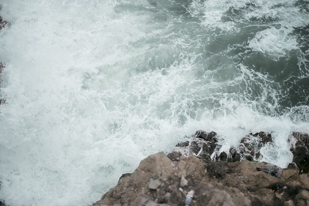 ocean waves on rock formation