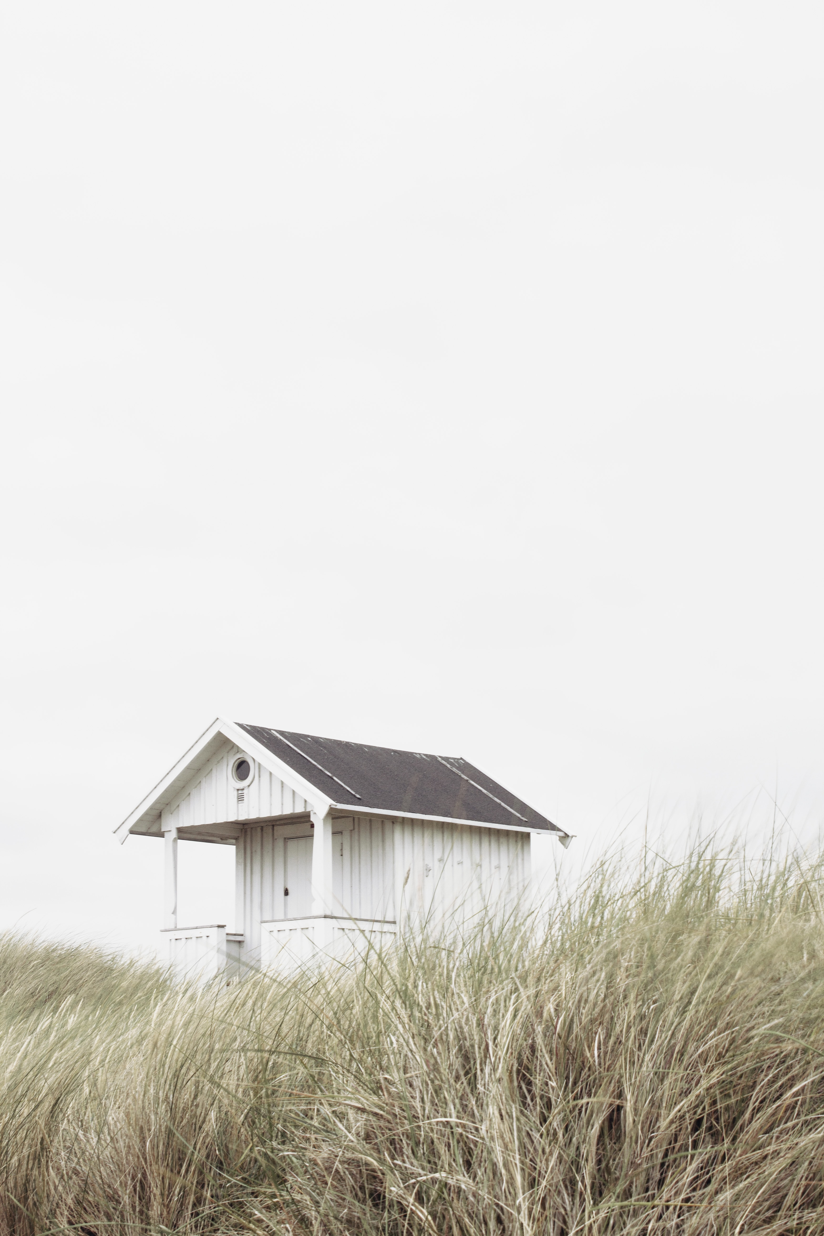 white and black wooden shed in the middle of brown grass under white sky