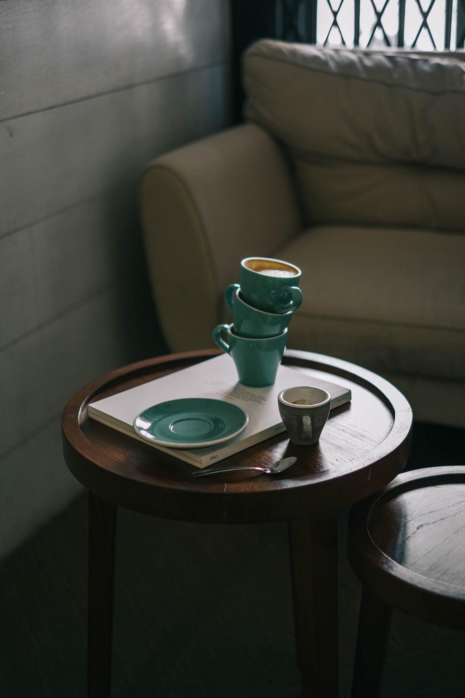 teal ceramic teacups