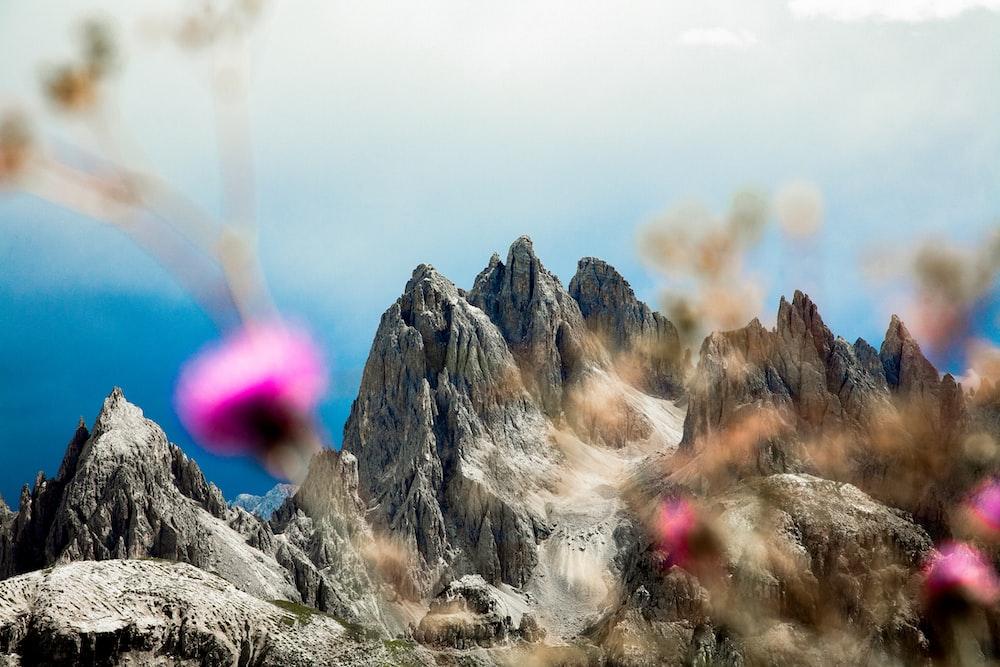 high-angle photography mountains
