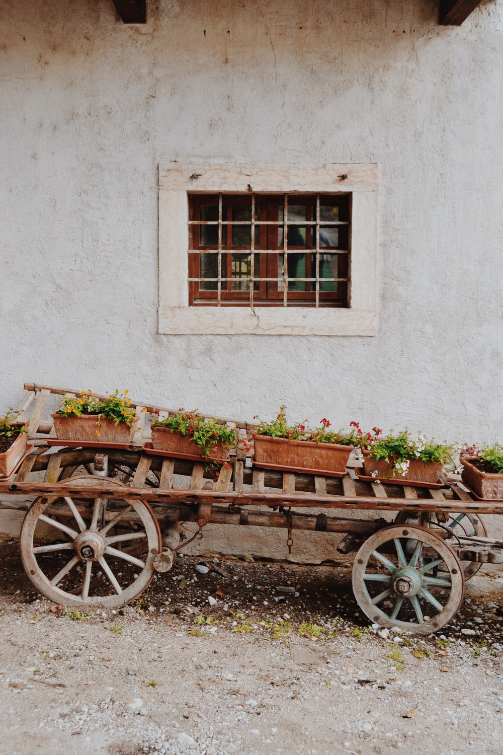 brown carriage near wall