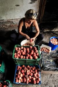 woman peeling fruits