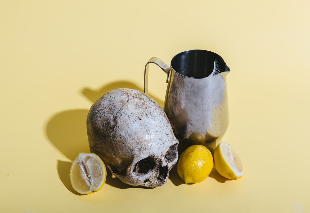 human skull beside pitcher and lemons