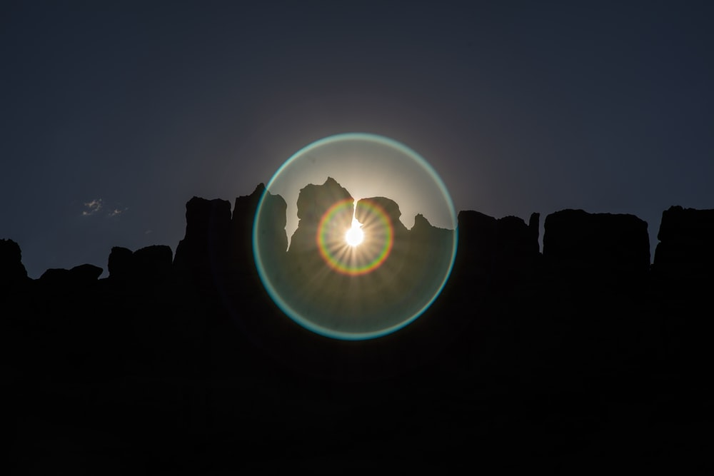 scenery of silhouette of rock formation