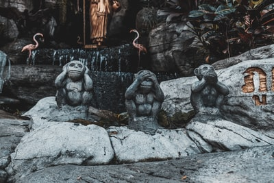 three wise monkeys buddhist temple zoom background