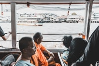 Buddhist Monks on the River Ferry in Bangkok