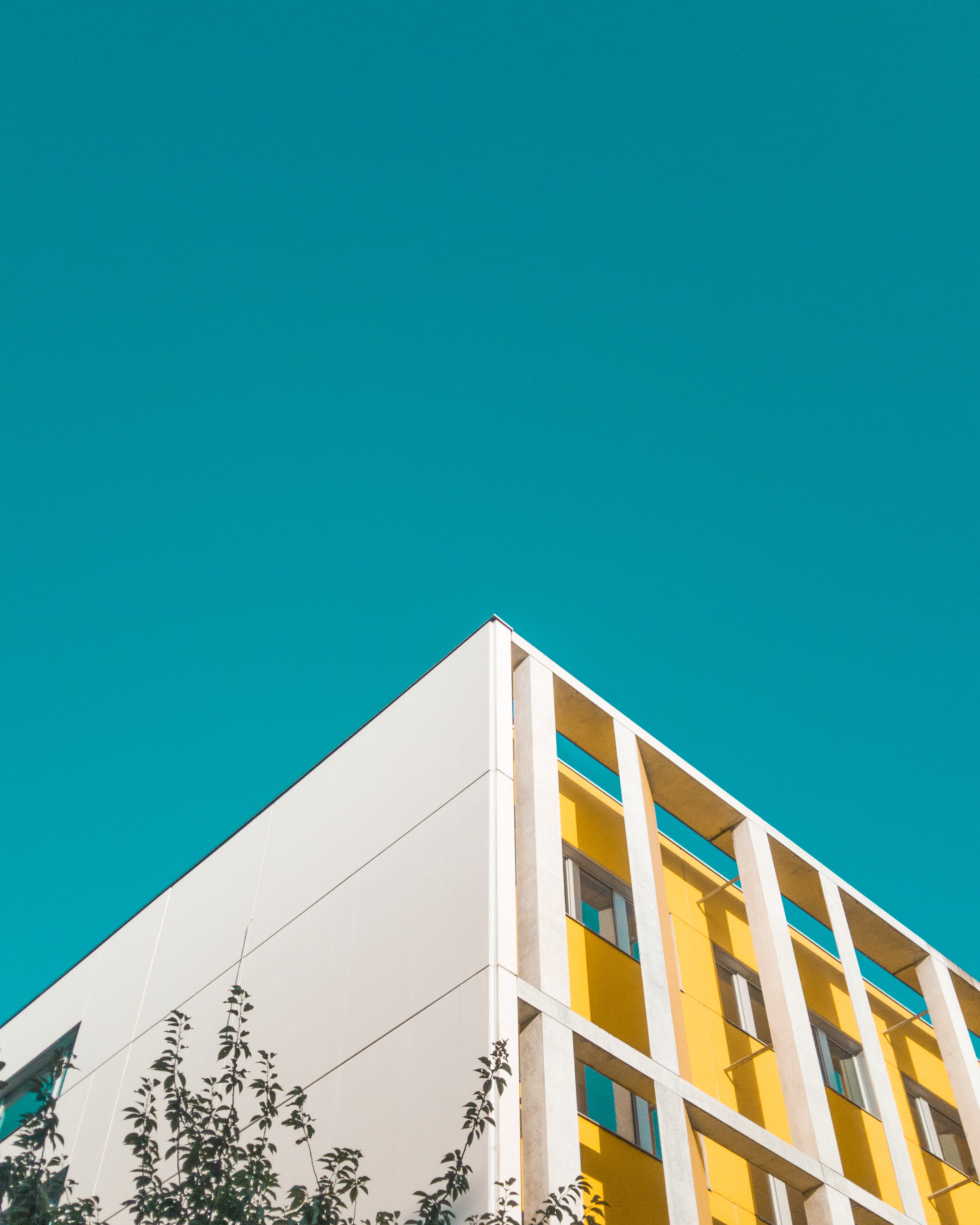 low angle photography of white and yellow concrete building