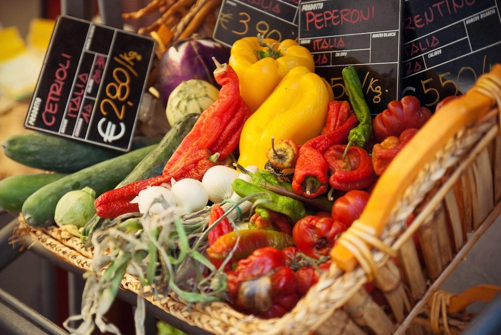 assorted-variety vegetables inside basket