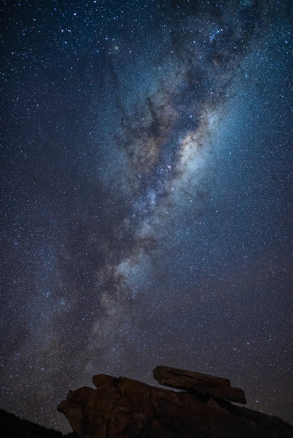 nebula over rock formation