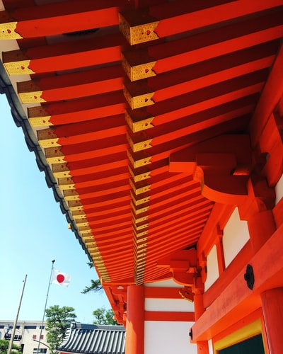 red wooden roof
